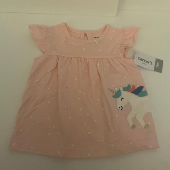 NWT Carter's pink unicorn 18 M dress